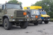 Unimog and army trucks