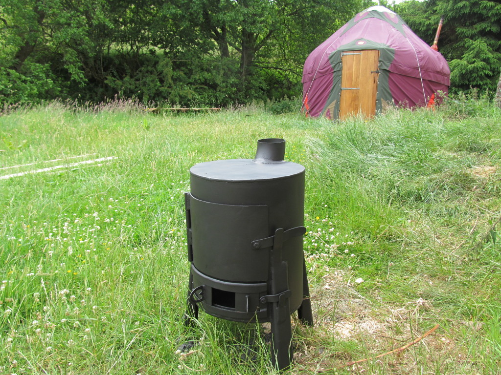 gas bottle stove and yurt