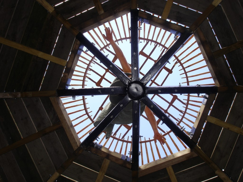 two storey yurt looking down
