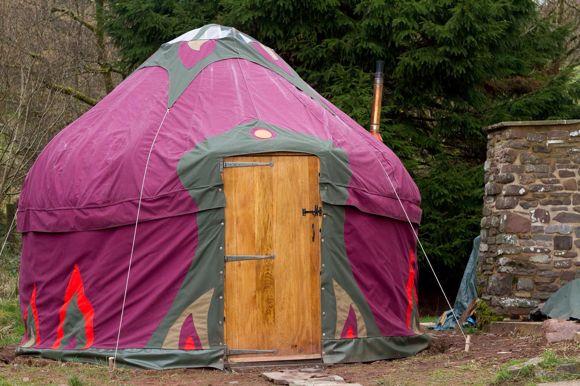 Coloured yurt covers