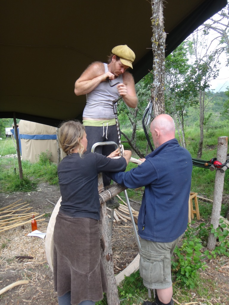 drilling the yurt wheel
