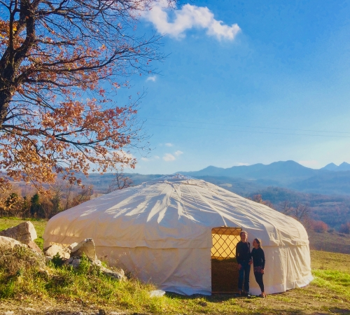 33' Yurt in front of the Majella Mountains, Abruzzo, Italy