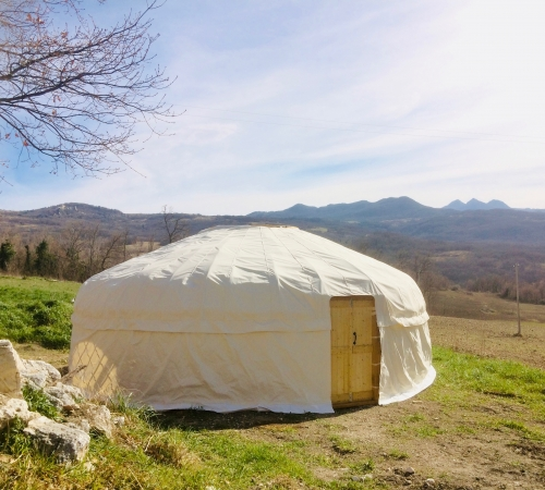 25' Yurt  in front of the Majella Mountains, Abruzzo, Italy