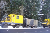 Overland trucks in winter