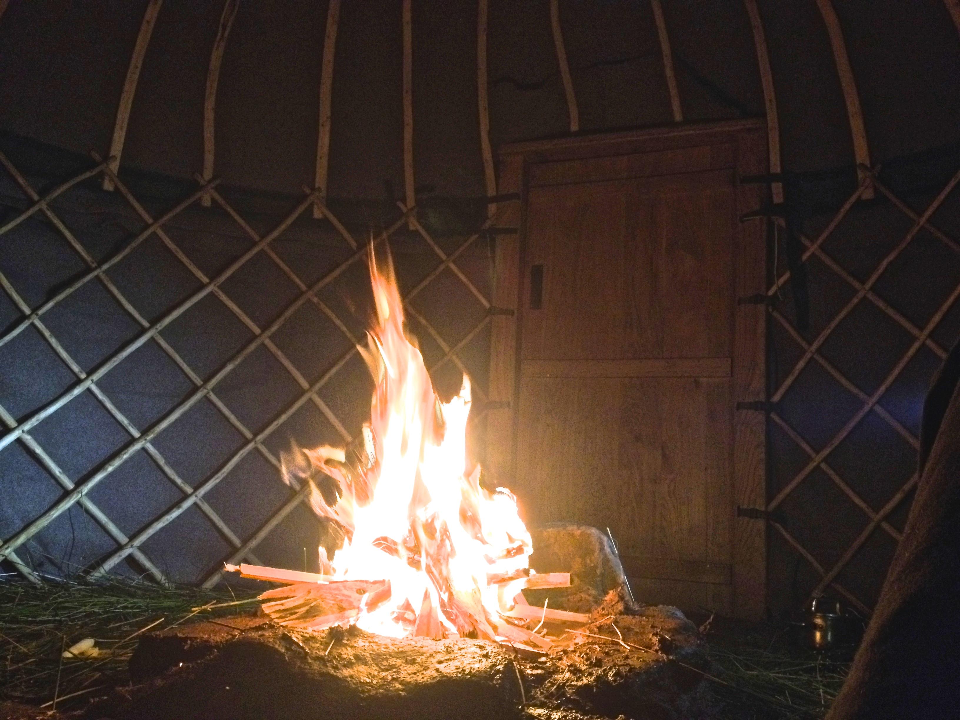 Inside Open Fire Yurt