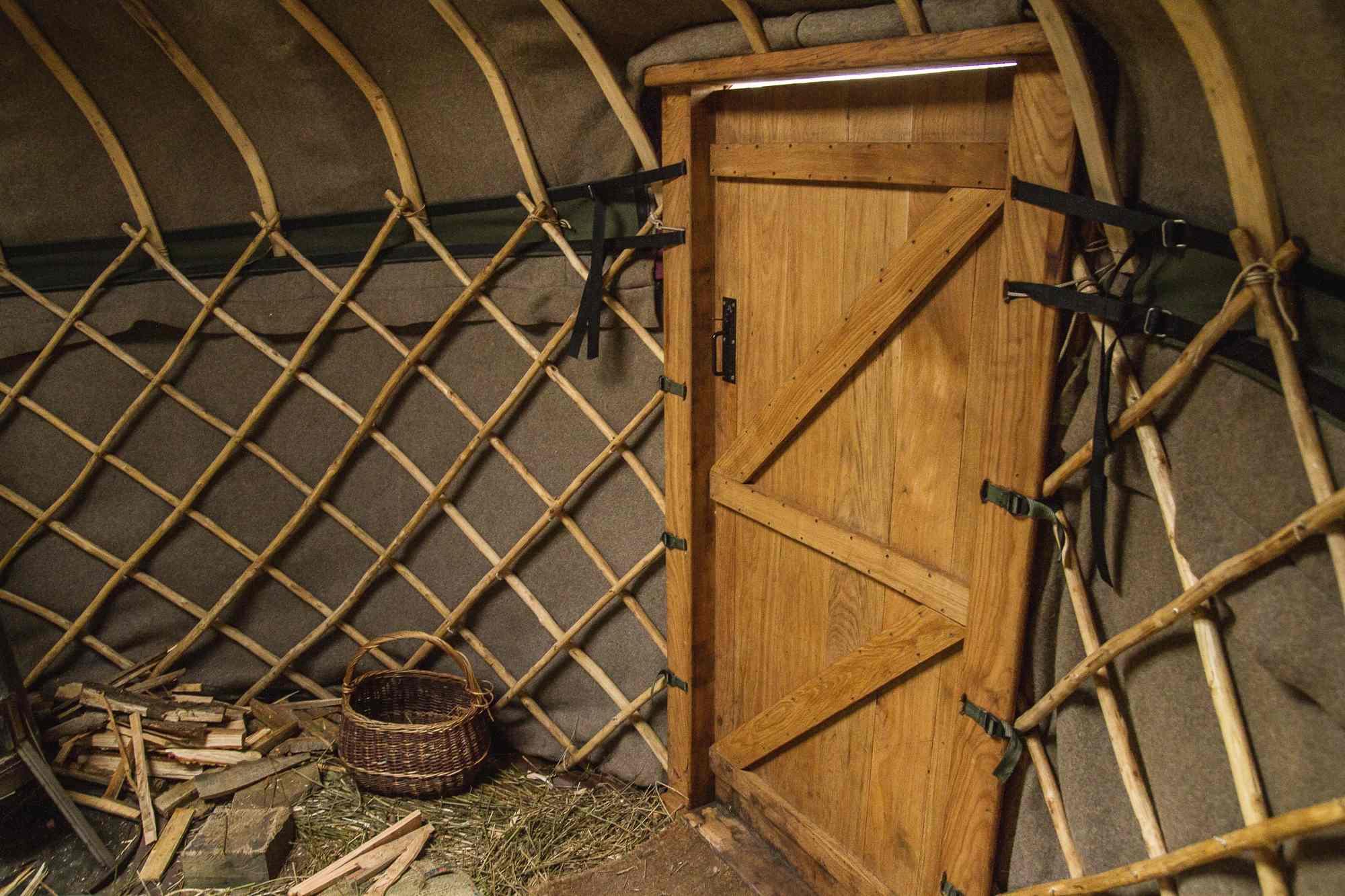 Wool Felt Lining in our Open Fire Yurt