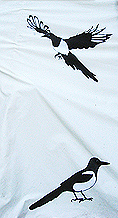 two magpies on tipi cover