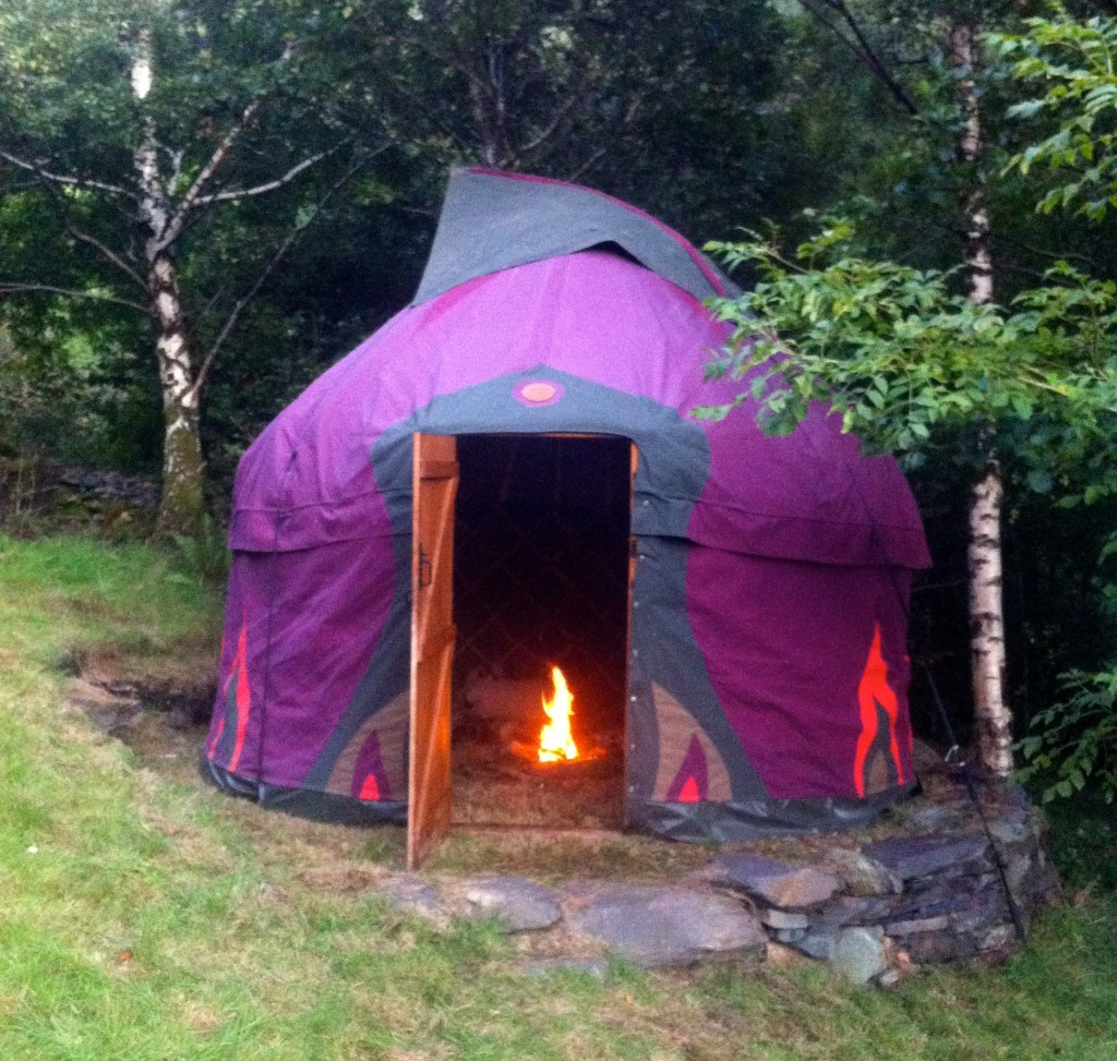 fire in a yurt