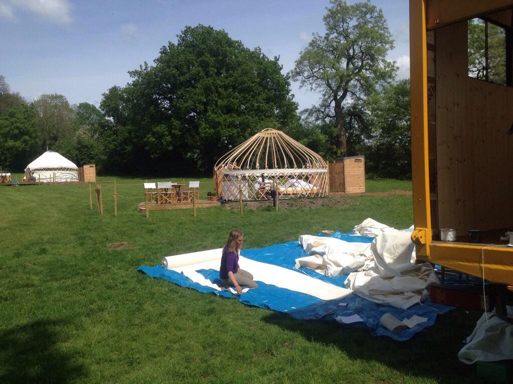 Making yurt covers on site