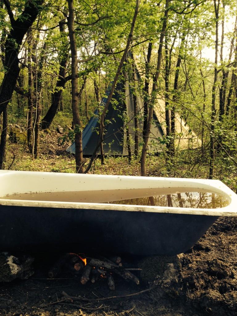 fire heated bath