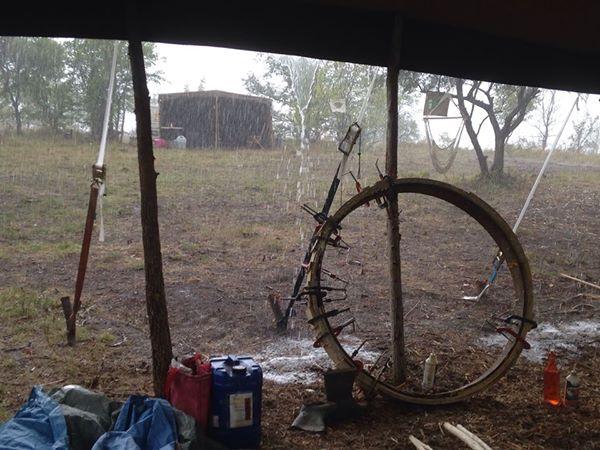 Campsite in rain